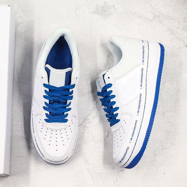 Hot Ins 107 x Forced INTERRUPTION Skateboard Chaussures Faashion Designer Je suis INTERRUPTION Blanc Bleu Basketball Sport Chaussures