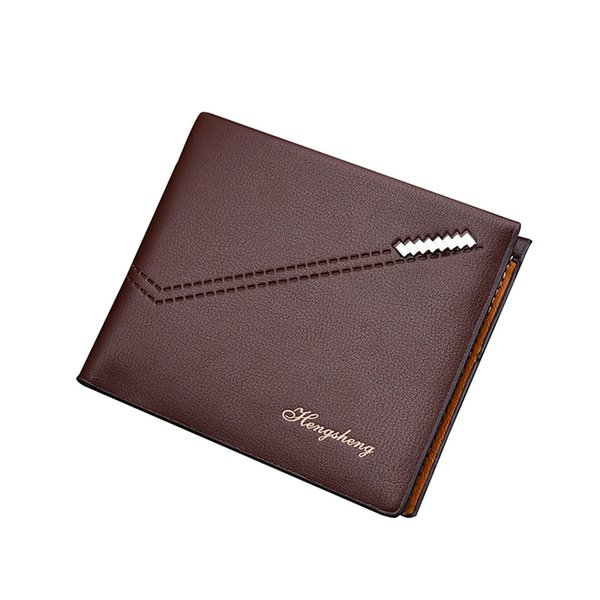 New Stop RFID Theft Short Wallet Men Horizontal 2 Fold PU Leather Wallets for Man Vintage Litchi Pattern Slim Purses Money Clip