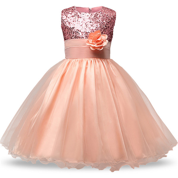 Graduation Gown for Junior Senior Teens Evening Ball Costume Sequin Floral Long Dress Bridal Dress Girls Formal Occasion Wear 2-8T B11