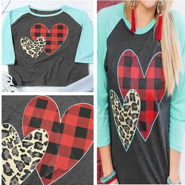 S-2XL Women Pullover Wrist Length Sleeve T shirt 2019 Spring Plaid Leopard Heart Print Sanding Tee Tops Valentine's Day Gifts for Girls sale