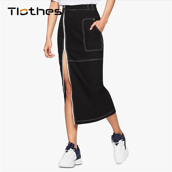 Casual taille haute jupe femmes vêtements 2018 automne hiver sexy club split jupe zipper mode crayon noir jupes