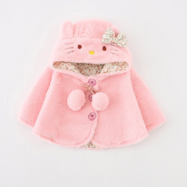 good quality Kitty Cute Fleece Faux Fur Baby Girls Winter Jacket Toddler's Autumn Coat Children's Clothing Clothes Hooded Cloak