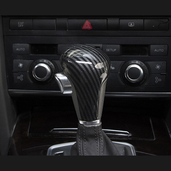 Car Styling Gear Shift Knob Head Cover For Audi A4 B7 A5 A6 C6 Q5 Q7 AT Speed Gearshift Handle Covers Carbon Fiber Color Stickers