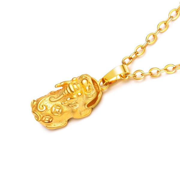 Gold Color Pendant Necklace For Women Brave Troops+Ingots Style Lucky Charm Link Chain Stylish Female Wedding Jewelry KX692