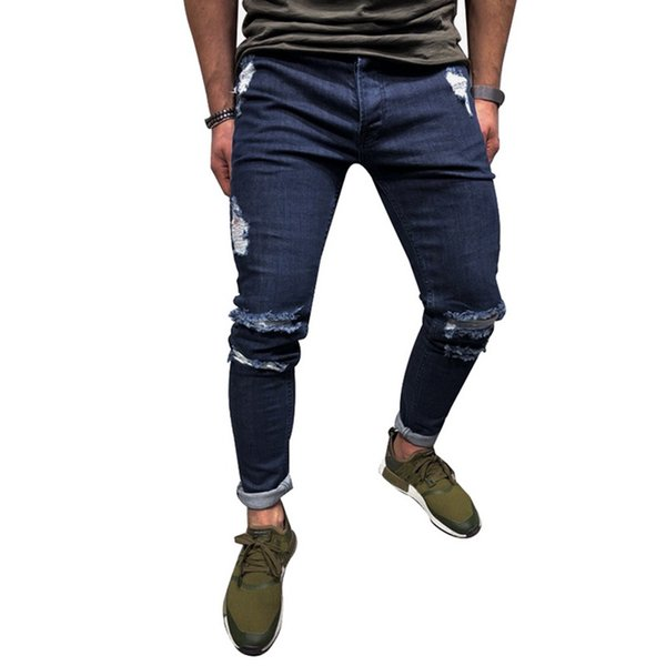 Laamei Mens Cool Designer Brand Blue Jeans Skinny Ripped Destroyed Stretch Slim Fit Hop Hop Pants With Holes For Men