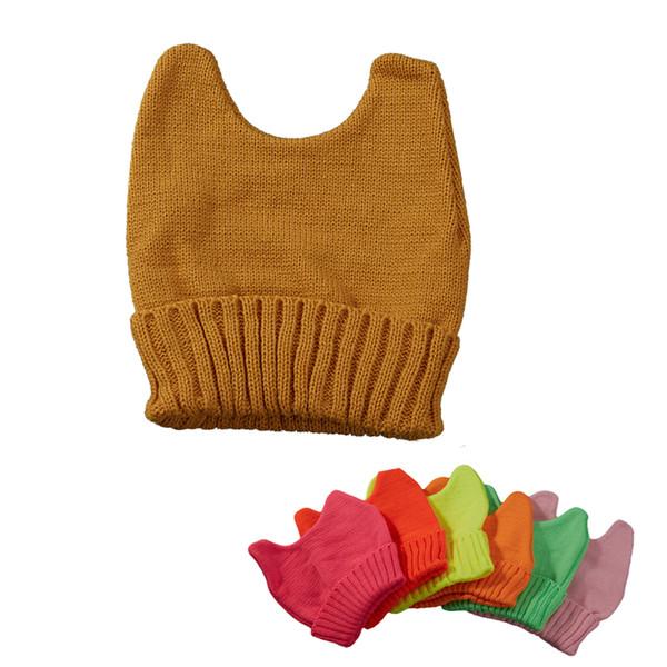 250PCS / LOT Unisex Autumn Winter Hat Cat Ears Warm Soft Knitted Hat Women Beanie Cap Fashion Simple Gorros 21 Colors