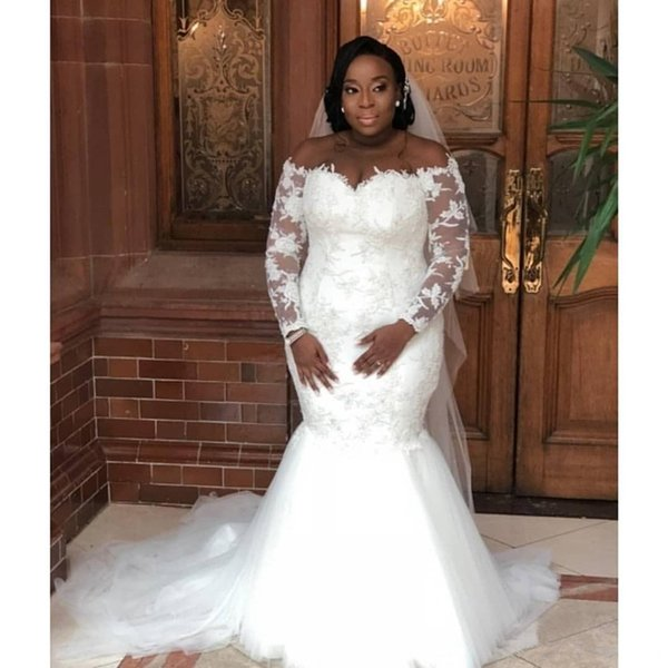 2019 African Mermaid Wedding Dresses Plus Size Long Sleeves Off Shoulder Vintage Lace Sheer Tulle Sweep Train Bride Dresses De Noiva
