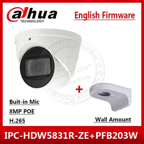 Dahua IPC-HDW5831R-ZE 4K 8MP POE 2.7mm ~12mm motorized IR50m IP67 Security Camera SD Card Built-in Mic & Wall Mount PFB203W