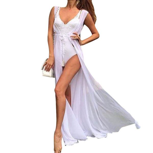 2019 Sommer Frauen Badeanzug Bikini vertuschen Strandkleid Langes Kleid Elegant Solide Sexy See-through Beach Neu
