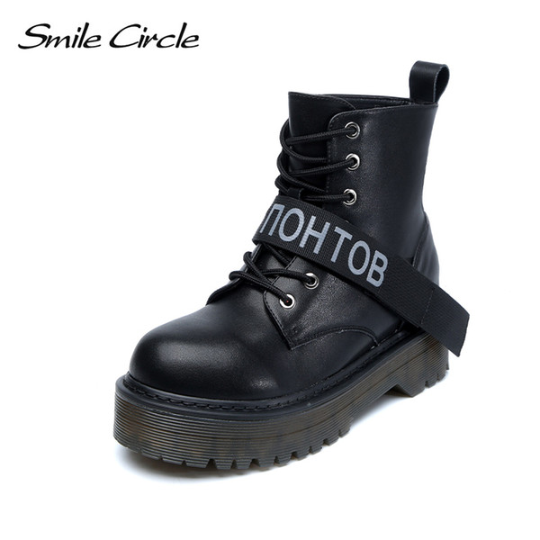 Smile Circle Size 36-42 Ankle boots Leather Chunky Boots Women Shoes Wedges Platform Boots Autumn Winter Fur warm Ladies