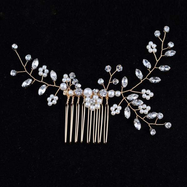 Elegant Handmade Gold Bride Hair Combs Headwear Crystal Bridal Hair Sticks For Wedding Evening Hair Accessories
