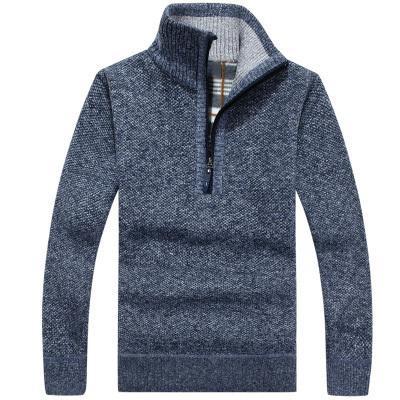 2019 otoño invierno nuevos hombres suéter de la cremallera jerseys Stand Collar Slim Fit grueso suéteres Hombre Color sólido jersey de punto 3XL