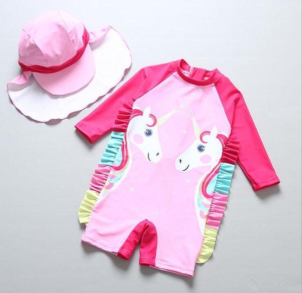 Girls unicorn Swimwear baby Bathing Suit One Pieces cartoon children Swimsuit baby Swim Wear 2019 Summer Kids Clothing