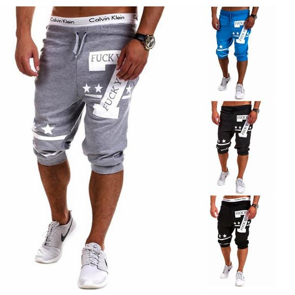 70b1dee2 2019 Мужские мужские короткие брюки длиной до колена Спортивные брюки с  принтом из натурального хлопка Брюки