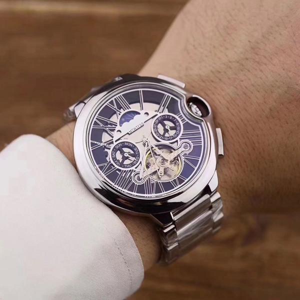Top hommes de montres de marque tous les cadrans travail 43mm de luxe volant cadran mécanique automatique pleine inoxydable montre-bracelet de mode de bande en acier pour l'homme