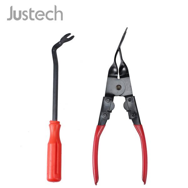 "top popular Justech 8.5""Car Door Panel Upholstery Remover Pry Bar Tool& 9.06"" Trim Clip Removal Plier Plastic Fastener Kit SET 2021"