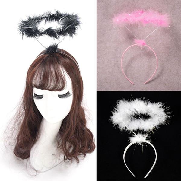 Moda Clubwear Stretchy Headband Adulto Criança Cosplay Glitter Fluffy halo Anjo Cabelo Hoop fairy fantasia vestido de festa Hairband Phot