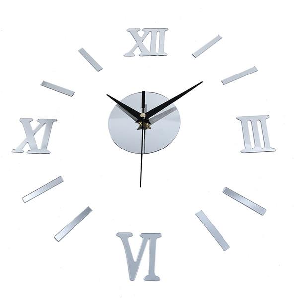 Números romanos efecto espejo etiqueta de bricolaje reloj de pared decoración del hogar