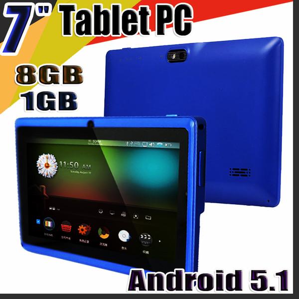"top popular 168 Allwinner A33 Quad Core Q88 Q8 Tablet PC Dual Camera 7"" 7Inch capacitive screen Android 5.1 1GB 8GB Wifi Google play store flash C-7PB 2020"
