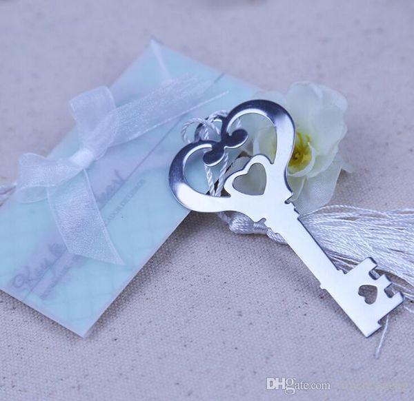 Clé en forme de coeur creux Bookmark Avec Blanc Conception Tassel Bookmark exquis mariage baby shower Party Favors cadeaux