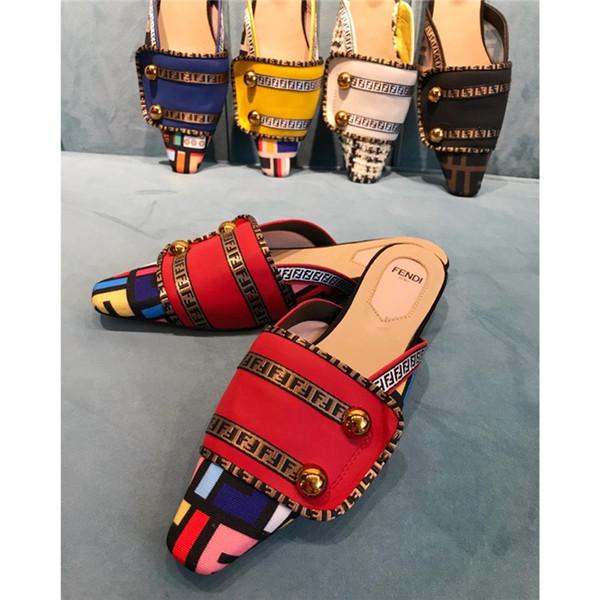 5A 2019 Mujer Zapatillas Sandalias Zapatos de diseño Sandalias planas de verano de la mejor calidad Chanclas Sandalias de moda Tamaño: 35-42 Con caja