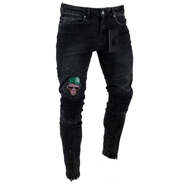 top popular Men Designer Jeans 8 Styles Hollow Out Skinny Slim Casual Male Jean Denim Pants 1pc OOA7060 2019