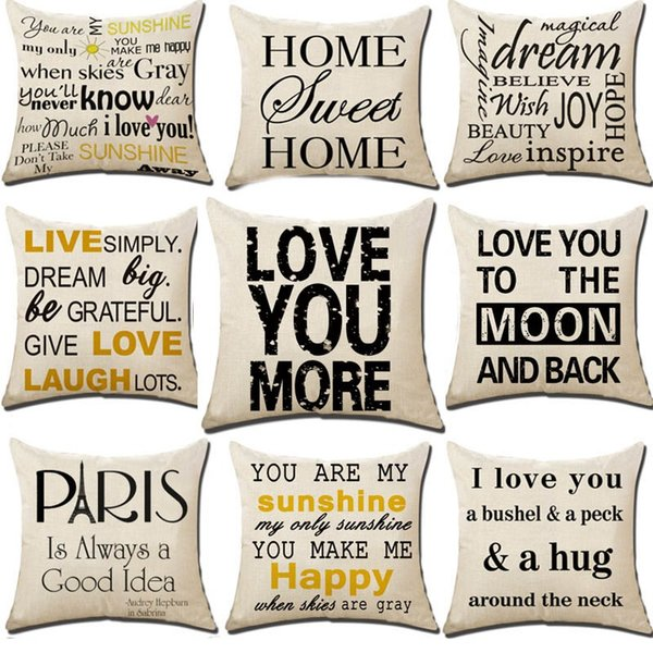 Je vous aime en lin Home Decor Throw Pillow Case Sofa Taille Housse de coussin