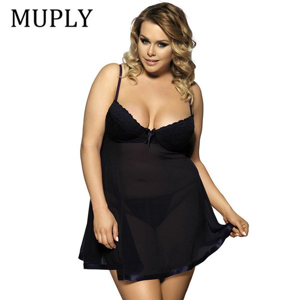 Muply Plus Size Sex Lingerie V Neck Sleepwear Babydoll Porno Underwear Lingerie Sexy Erotic Hot Dress Intimate Goods Sex Costume J190613