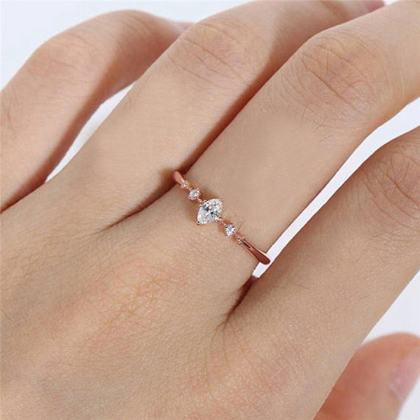 1Pcs Cut Engagement Ring for Women Three Stone Cluster Bridal Rings Wedding Jewelry Dainty Female Finger Ring