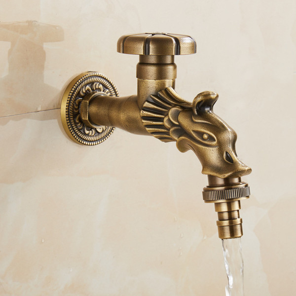 Carved Bibcock Faucet Retro Antique Brass Wall Mounted Bathroom Washing Machine Faucet Mop Sink Taps Outdoor Faucet for Garden