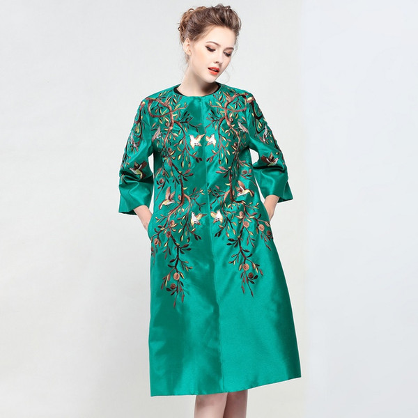 New Brand Coat Women Plus Size XXL Trench Vintage National Style Embroidery Covered Button Red Green Dark Blue Overcoats Femme