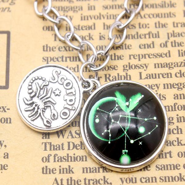 12 Sternbild Sternzeichen Halskette Für Frauen Antike Silber Schmuck Leo Libra Widder Anhänger Horoskop Astrologie Halskette