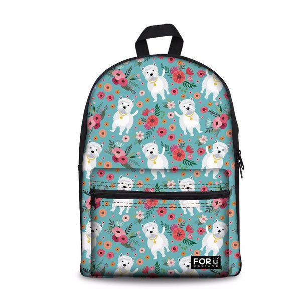 Designer-Customized Girls School Bags Senior High School Women Backpack Westie Dog Pattern Laptop Schoolbag for Kids Bags Bookbag Cute