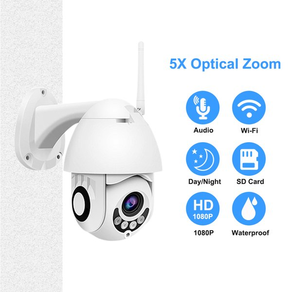 Speed Dome Mini Camera 1080P Two Way Audio PTZ 5X Optical Zoom WIFI IP Camera HD Outdoor Security Color Night Vision P2P Onvif
