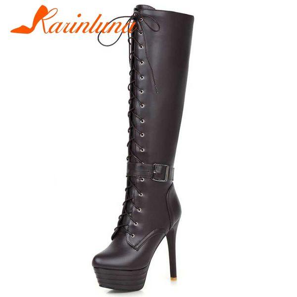 KARINLUNA Large Size 34-45 Knee-High Women Boots Motorcycle Boots Thin High Heels Sexy Platform Women Shoes Woman Winter