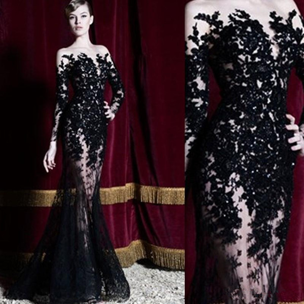 2019 Zuhair Murad Evening Dresses Long Sleeves Black Lace Sheer Mermaid Prom Dresses Party Gowns Long Special Occasion Dubai Arabic Dresses
