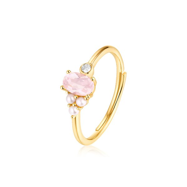 S925 Jewelry with Egg Gem Ring  Crystal Freshwater Pearl Ring Fashion Gold Coaring