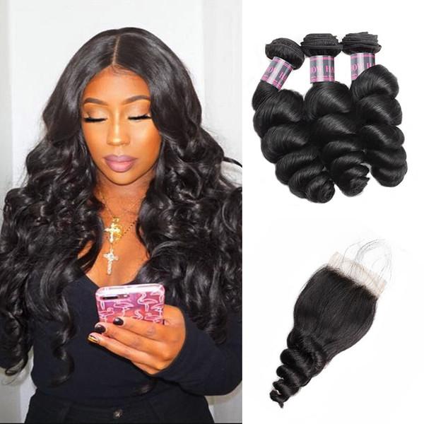 Precio al por mayor Brasileño Loose Wave 3 paquetes de cabello humano con cierre Ishow Hair Barato 8A Extensiones de cabello humano de la Virgen del Perú