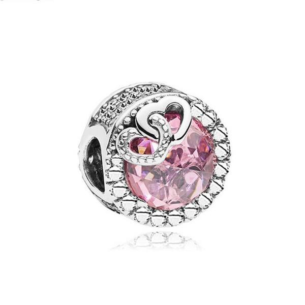 Love Hearts Big Hole Alloy Rhinestone Beads Crystal Loose Beads DIY European Charm Bracelet Jewelry Lover gift