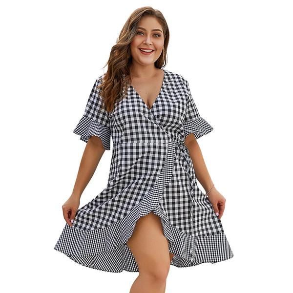 Projeto original europa e nos estados unidos das mulheres tamanho grande verão novo caráter cinco manga ruffled dress moda coringa confortável vestido