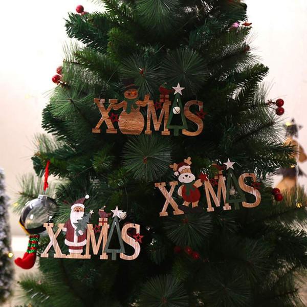 Weihnachtsdekoration Weihnachtsbrief Weihnachtsbaum Holzanhänger Hängende Tür Wand Ornament