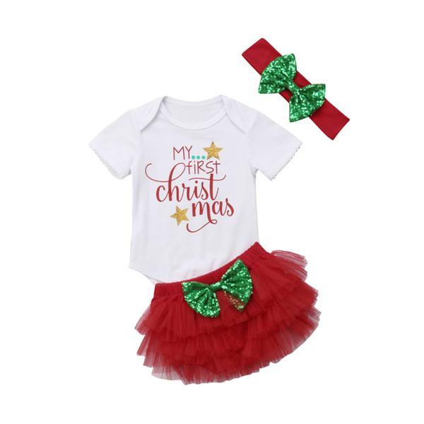 FOCUSNORM 3 Unids Navidad Newborn Baby Girls Ropa de manga larga Imprimir Carta Romper Jumpsuit + Tutu Shorts trajes ropa US Y190515