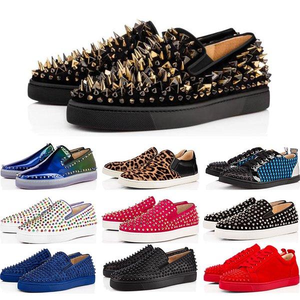 2019 tasarımcı Marka Çivili Spike Flats ayakkabı Kırmızı Dipleri ayakkabı lüks Mens Womens Parti Severler Hakiki Deri Sneakers e ...