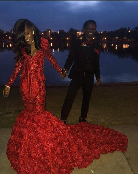 Long Sparkly Prom Dresses 2019 Sexy V-neck Long Sleeve Sequin African Black Girl 3D Flowers Red Mermaid Graduation Dresses