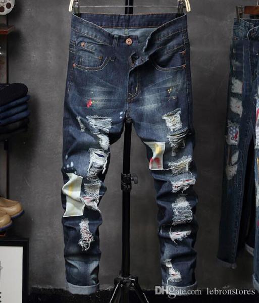 Дизайнерские брюки моды джинсы прилив бренда мужской джинсовой задействуя брюки брюки Европы и роскошные коммутационные Локомотив штаны Соединенные Штаты Америки