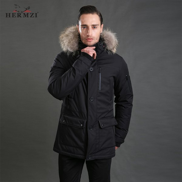HERMZI 2019 Down Jacket Men Winter Down Coat 80% Duck Thick Warm Men Long Jacket Parka Mens Real Raccoon Fur