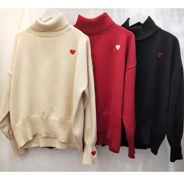 Gules Small Love High Collar Knitting Blouses Sweater Bottoming Clothing Female 2018 Winter Quality Real Beat Goods In Stock