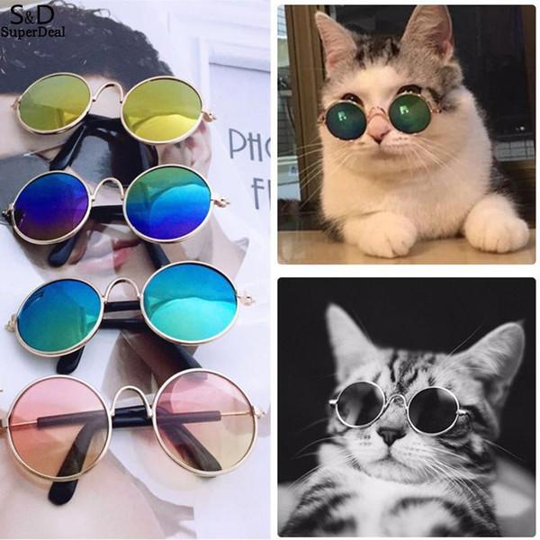 Pet óculos de sol retro rodada cat dog óculos de sol candy color pet cães gato óculos de sol fotos adereços pet acessórios mma2154
