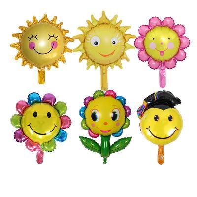 50Pcs/lot Mini Sunflower Foil Balloons Smile Face Rainbow Sun Flower Helium Balloons Birthday Party Wedding Decoration Air Ballons