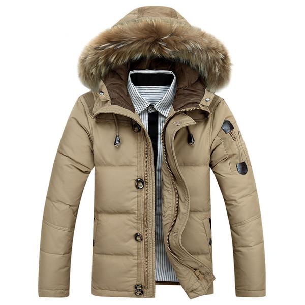 Marca 2019 Giacca Giacca uomo Cappotto invernale anatra bianca giacca spessa colletto pelliccia calda rimovibile Uomo casuale militare cappotto M-3XL # P03